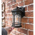 Halsall bronze wall light in situ