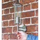 Contemporary Stainless Steel Wall Lantern to Scale
