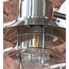 Contemporary Silver Overhanging Wall Light Caged Detailing