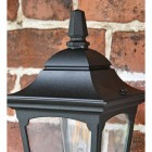 Black Traditional Wall Lantern Top & Clear Panes