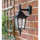 """Moorside"" Traditional Top Down Black Wall Lantern in Situ on a House"
