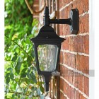 "Side View of the ""Moorside"" Traditional Top Down Black Wall Lantern"