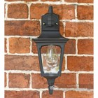 "Front View of the ""Moorside"" Traditional Top Down Black Wall Lantern"