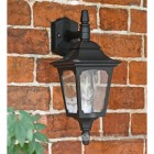 """Moorside"" Traditional Top Down Wall Lantern Finished in Black with Clear Glass"