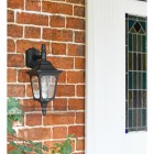 """Moorside"" Traditional Top Down Black Wall Lantern by the Front Door"