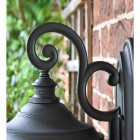 Medium Traditional Top-Fix Black Wall Lantern Scrolled Bracket