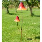 Bright Orange Double Head Mushroom Garden Spike