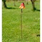 Rustic Orange Mushroom Garden Ornament in the Grass