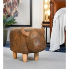 Brown Cow Foot Stool in Living Room Setting