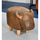 Full view of Biscuit the Brown Cow Foot Stool
