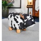 Black & White Cow Foot Stool, miniature size