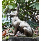 Side view Gold Finish Sitting Rabbit Sculpture