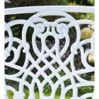 Close up of cast aluminium white pattern on bench