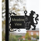 Lion & Staff Iron Bracketed House Name Sign
