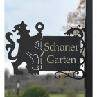 Lion & Staff Iron Bracketed Name Sign