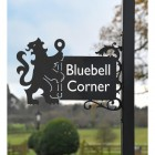 Lion & Staff Iron Bracketed House Name Sign  in full
