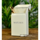 Cream Metal Match Box Holding Matches