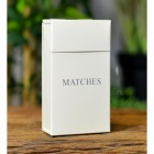 "Cream Metal Match Box with the Text ""Matches"""