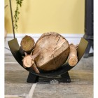 Black Contemporary Crescent Shaped Log Tray