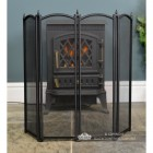 Front view of the Black Four Fold Fire Guard