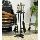 Black Four Tool Companion Set with Sculpted Pewter Handles in Situ by the Fire Place