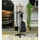 Four Tool Companion Set Finished in Black Sculpted Pewter Handles