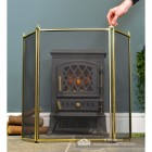 Traditional Polished Brass Three Fold Fire Guard to Scale