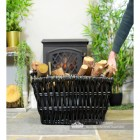 Dove Grey Wicker Log Basket to Scale