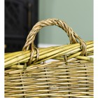 Natural Finish Wicker Log Basket Close Up Of Handle
