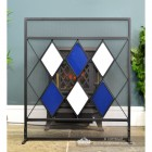 Front View of the Blue & White Diamond Pattern Fire Screen