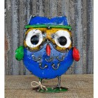 Owl With Hat Recycled Metal Ornament