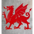 Welsh Dragon Wall Art in Situ on a Rustic Wall