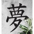 """""""Kanji Dream Symbol"""" Wall Art on a Rustic Wall"""