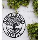 """""""Tree of Life"""" Circular Iron House Name Sign  in Situ Outside"""