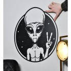 Peace Sign Alien Wall Art to Scale