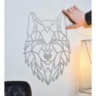 Geometric Wolf Head Wall Art in Grey