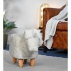 Unicorn Grey Leather Stool in Situ in a  Modern Sitting Room