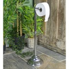 Bright Chrome Victorian Free Standing Toilet Roll Holder Holding Toilet Roll