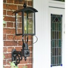 Victorian Wall Lantern With Curved Top Installed By Front Door