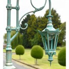 Vintage Blue Hexagonal Lantern and lamp post scroll work