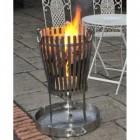 """""""Deluxe Vulcan"""" Black Stainless Steel Log burner & BBQ in Situ Outside"""