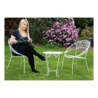 """Wesley Park"" Petite Garden Table and Chairs Finished in White"