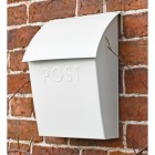 White Contemporary Postbox in Situ on a Brick Wall