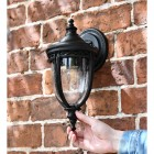 """Winsford"" Traditional Top Fix Black Wall Lantern Finished in Black"