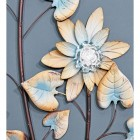Rustic Cream and Blue Open Flowers on the Wall Art
