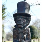 Close-up of the Antique Bronze Hatter Sculpture