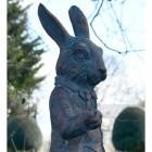 Close-up of the Antique Bronze Rabbit Sculpture