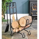 Wrought Iron Log Holder in Situ holding Logs
