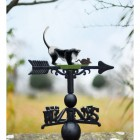 Hand Painted Cat and Mouse Weathervane in Cast Iron