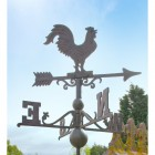 Large Iron Rooster Weathervane In A Rustic Finish